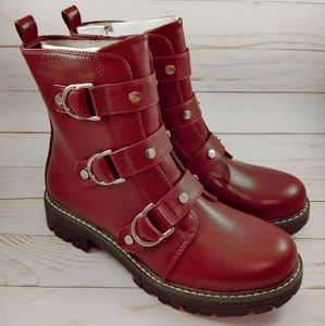 New SO Cichlid Women's Combat Boots in Wine